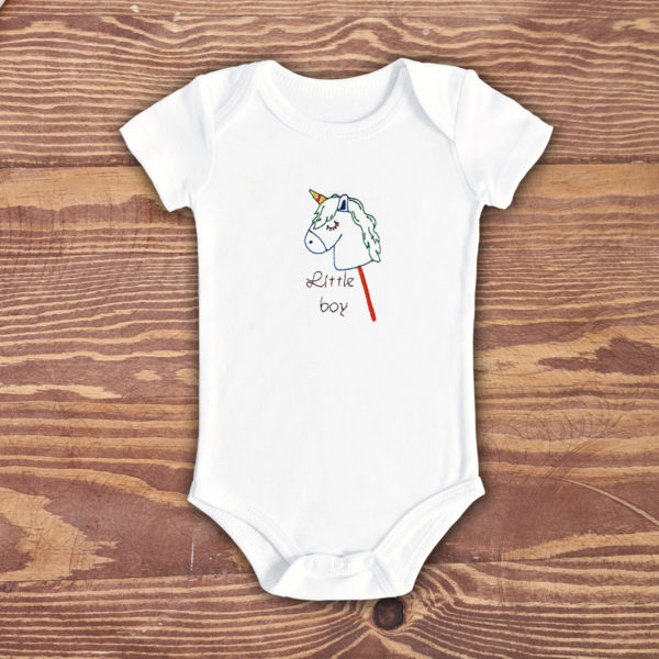 Little boy, baietel ponei – Body bebe, LWS, bumbac organic, brodat, alb