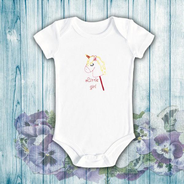 Little girl, fetita ponei – body bebe, LWS, bumbac organic, brodat, alb