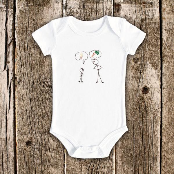Inghetata si morcov – body bebe, LWS, bumbac organic, brodat, alb