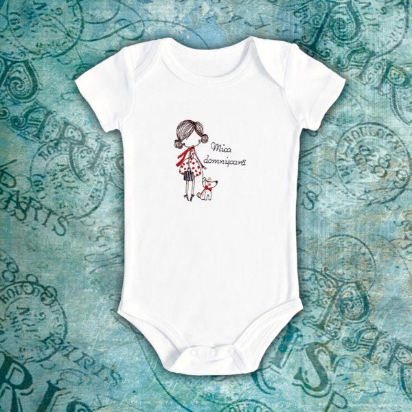 Mica domnisoara cu catel – body bebe, LWS, bumbac organic, brodat, alb