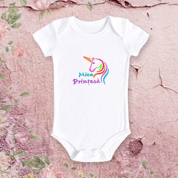 Unicorn mica printesa – body bebe, LWS, bumbac organic, brodat, alb