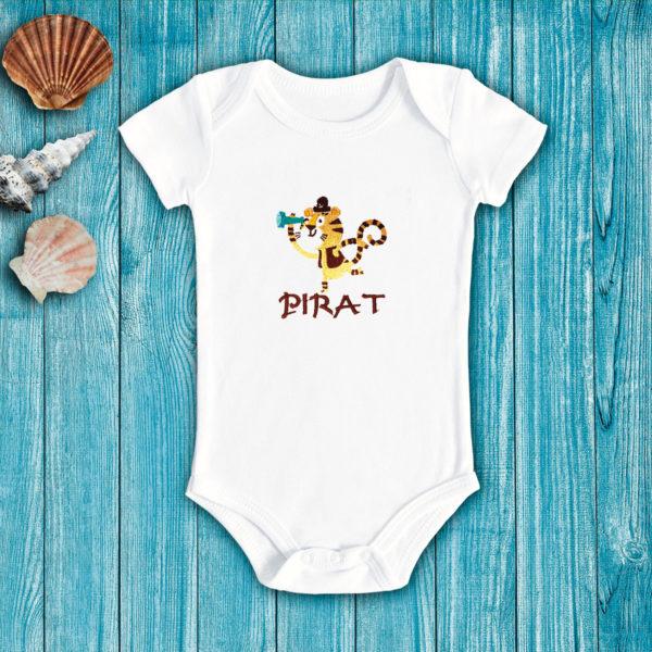 Tigrul pirat – body bebe, LWS, bumbac organic, brodat, alb