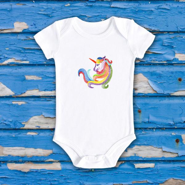 Unicorn curcubeu – body bebe, LWS, bumbac organic, brodat, alb