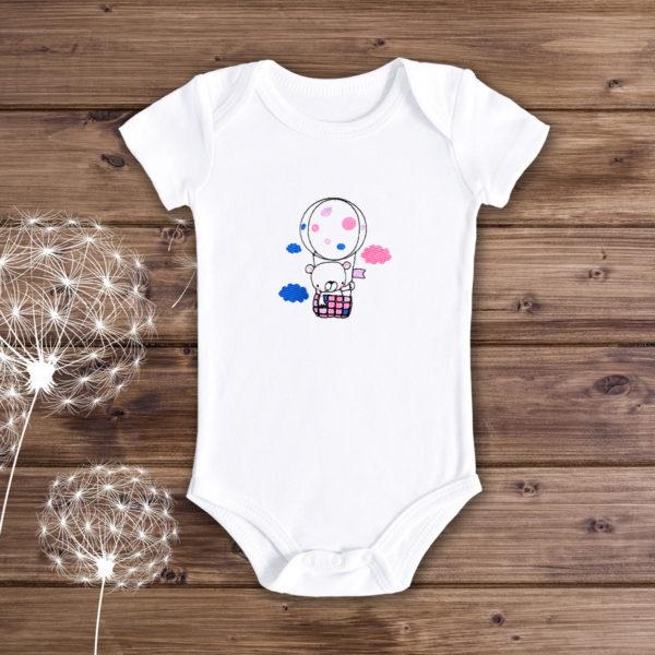 Ursulet in balon – body bebe, LWS, bumbac organic, brodat, alb