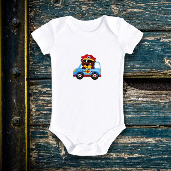 Ursuletul politist – body bebe, LWS, bumbac organic, brodat, alb