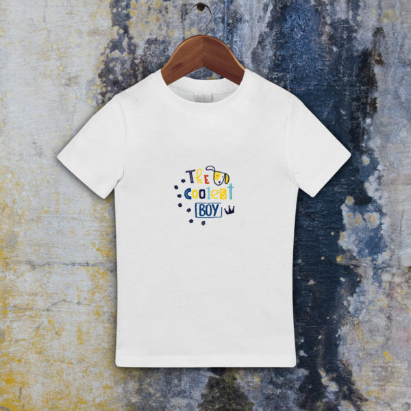 The coolest boy – tricou copii, LWS, bumbac organic, brodat, alb