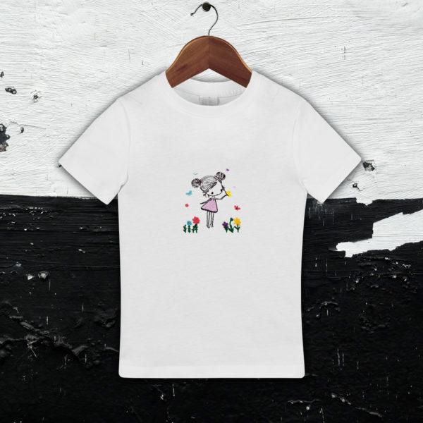 Fata cu fluturi – tricou copii, brodat, lws 539