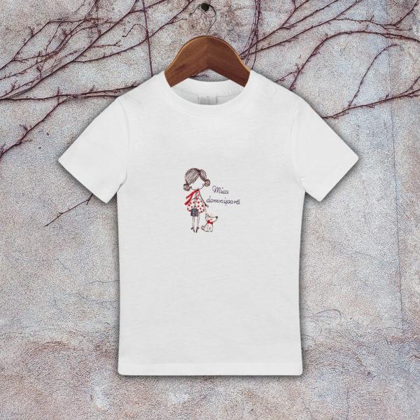 Mica domnisoara cu catel – tricou copii, brodat, lws 482