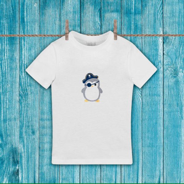 Pinguinul pirat – tricou copii, brodat, lws 431