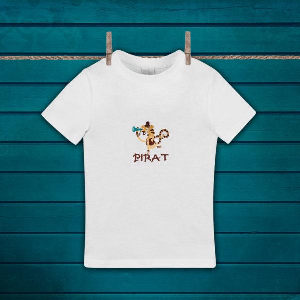 Tigrul pirat – tricou copii, LWS, bumbac organic, brodat, alb