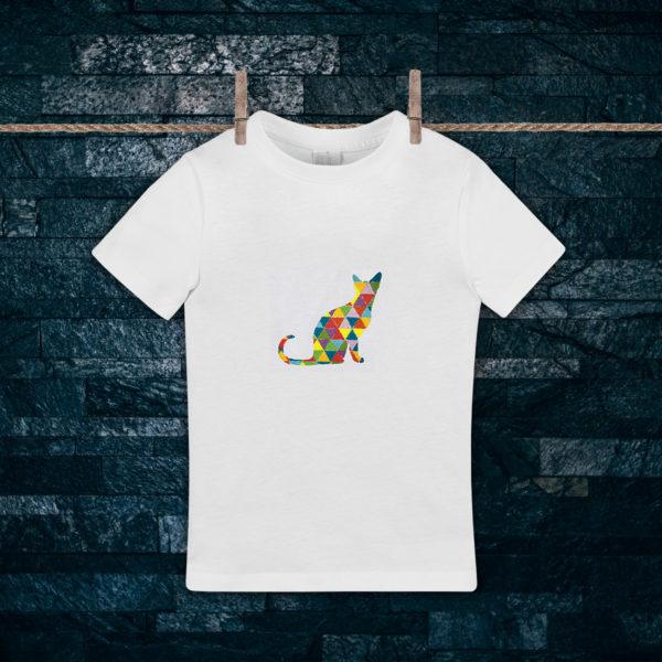 Pisica curcubeu – tricou copii, brodat, lws 516