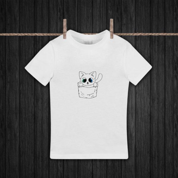 Pisicuta in cos – tricou copii, brodat, lws 505