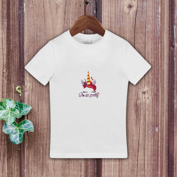 "Unicorn ""I'm so pretty"" – tricou copii, LWS, bumbac organic, brodat, alb"