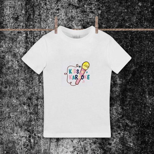 Karaoke kids. – tricou copii, LWS, bumbac organic, brodat, alb