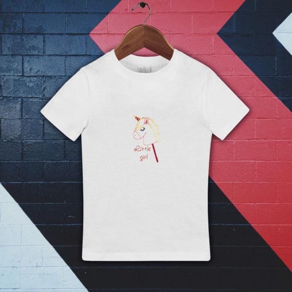 Little girl, fetita ponei – tricou copii, LWS, bumbac organic, brodat, alb