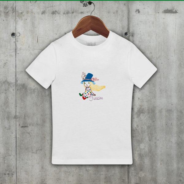 Fata cu iepuras – Tricou copii, brodat, lws 522