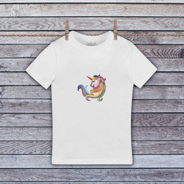 Unicorn curcubeu – tricou copii, LWS, bumbac organic, brodat, alb