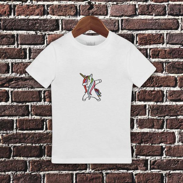 Unicorn dansator – tricou copii, LWS, bumbac organic, brodat, alb