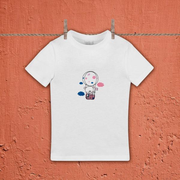 Ursulet in balon – tricou copii, LWS, bumbac organic, brodat, alb