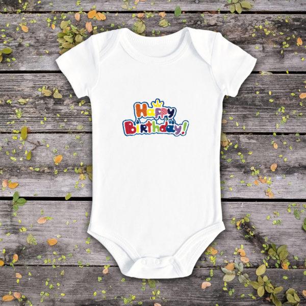 La multi ani coroana- body bebe, LWS, bumbac organic, brodat, alb