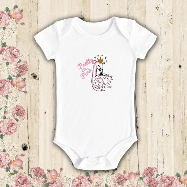 Lebada roz – body bebe, LWS, bumbac organic, brodat, alb