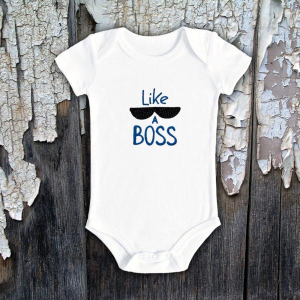 Like a Boss- body bebe, LWS, bumbac organic, brodat, alb