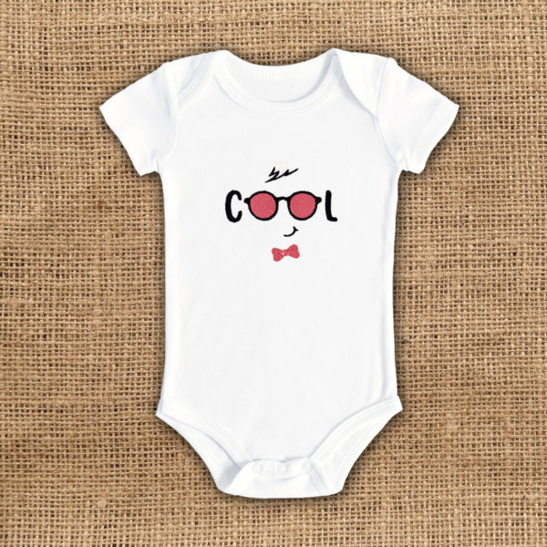 Ochelari cool- body bebe, LWS, bumbac organic, brodat, alb