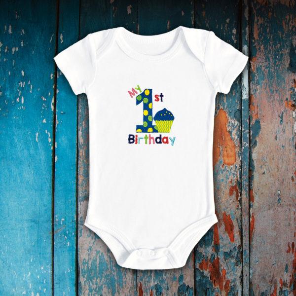 My first Birthday briosa- body bebe, LWS, bumbac organic, brodat, alb