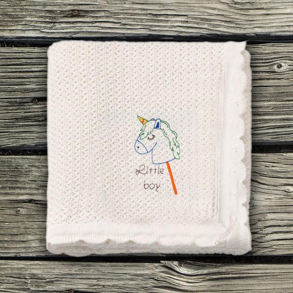 Little boy, baietel ponei – paturica bebe brodata lws 663