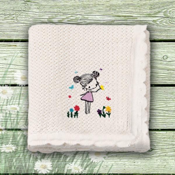 Fata cu fluturi – paturica bebe brodata lws 652