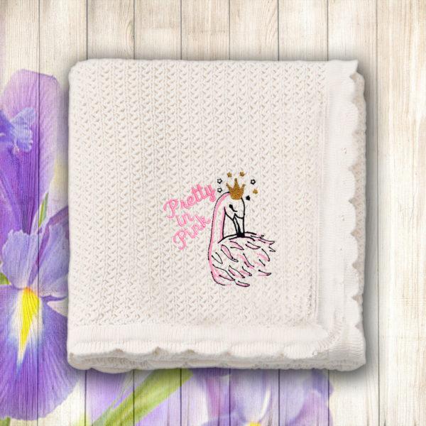 Lebada roz – paturica bebe brodata lws 660