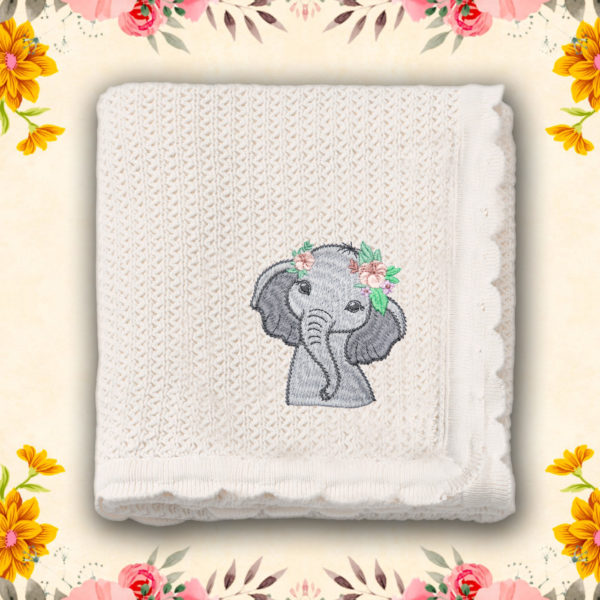 Domnisoara elefantica – paturica bebe, brodata, alba, lws 3239