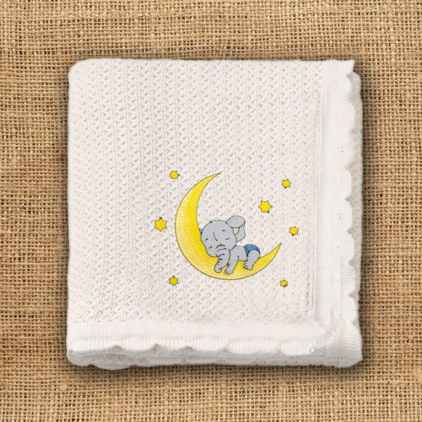 Elefantel dormind pe luna – paturica bebe, brodata, alba, lws 3242