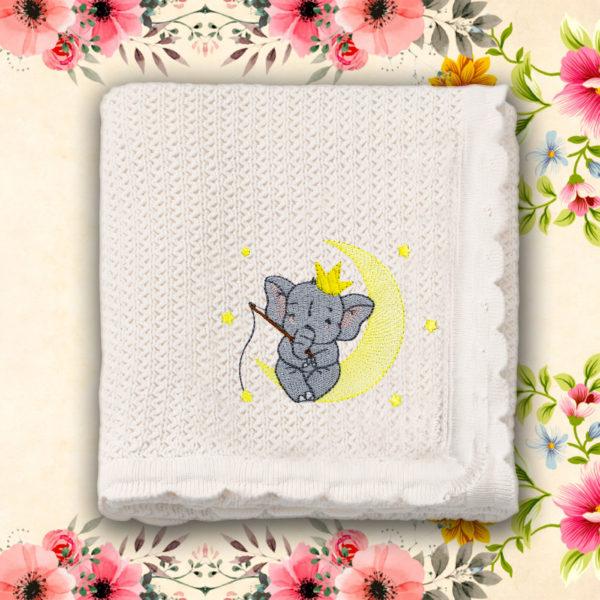 Elefantel pescuind visuri – paturica bebe, brodata, alba, lws 3793