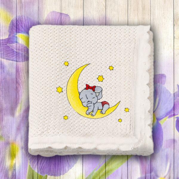 Elefantica dormind pe luna – paturica bebe, brodata, alba, lws 3767