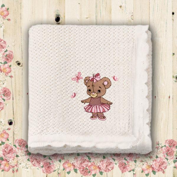 Fetita ursulet, balerina – paturica bebe, brodata, alba, lws 3777